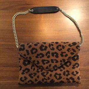 J.Crew Leopard Print Suede Shoulder Bag
